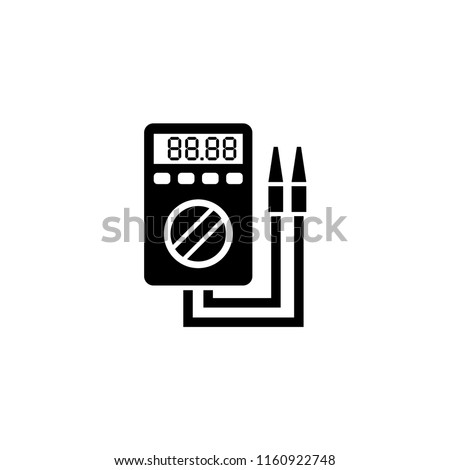 Digital Multimeter, Electric Voltmeter. Flat Vector Icon illustration. Simple black symbol on white background. Digital Multimeter Electric Voltmeter sign design template for web and mobile UI element