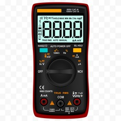 Digital multimeter with lcd and wheel for changing working modes. Voltage tester. Electrical measuring instrument. Vector illustration.