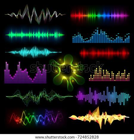 Digital music equalizer audio waves set vector llustration design template audio signal visualization