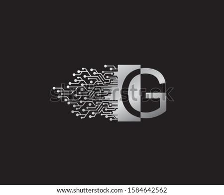 Digital Network  G Letter Logo Icon, Metal G Data Design.