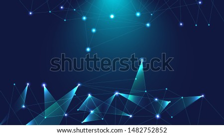Digital Networking, Communication, Polygon Web Background. Vector Geometric Blue, Turquoise Light, Triangular Shapes Futuristic Pattern. Big Data, Interconnected Lines Technical Concept, Polygons Net