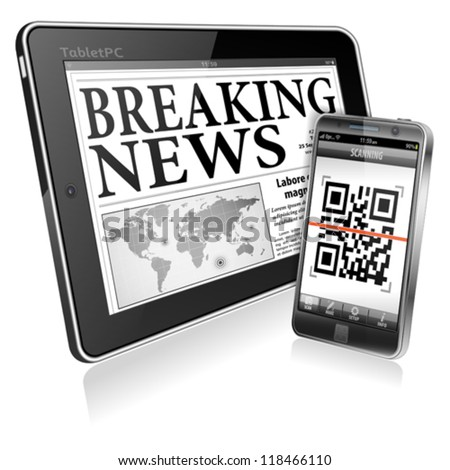 Digital News Concept with Business Newspaper on screen Tablet PC and Smartphone with Application Scanning QR Code, vector