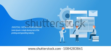 Digital news publication, publishing news on digital media flat design vector illustration
