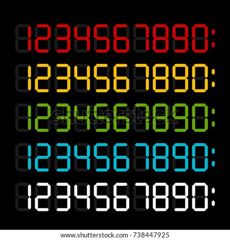 Digital numbers collection. Color variants. Template for electronic device.