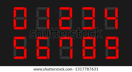 Digital numbers vector set of LCD or LED display with electronic number or calculator digits on black background - Vector