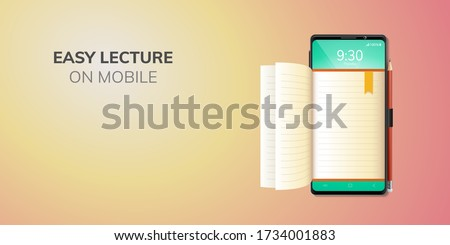 Digital Online Education Application learning on front top phone, mobile website background. social distance concept. decor by book lecture pencil eraser mobile. 3D vector Illustration - copy space