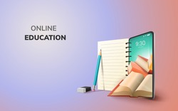 Digital Online Education Application learning world wide on phone, mobile website background. social distance concept. decor by book lecture pencil eraser mobile. 3D vector Illustration - copy space