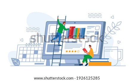 Digital online education application or app, person choosing new book on computer screen. Vector student characters learning online at home on smartphone. Dictionary encyclopedia, web archive ストックフォト ©