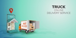 Digital Online Global logistic Truck Van Delivery on phone, mobile website background. concept for location pin passenger food item shipping box.  3D vector Illustration. flat design. copy space