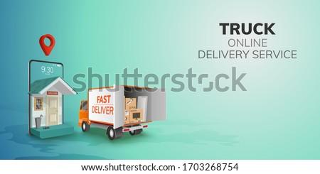 Digital Online Global logistic Truck Van Delivery on phone, mobile website background. concept for location pin passenger food item shipping box.  3D vector Illustration. flat design. copy space