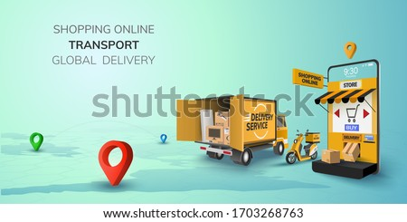 Digital Online Shop Global logistic Truck Van Scooter Black Yellow Delivery on phone, mobile website background. concept for location shopping food shipping box. 3D vector Illustration. copy space