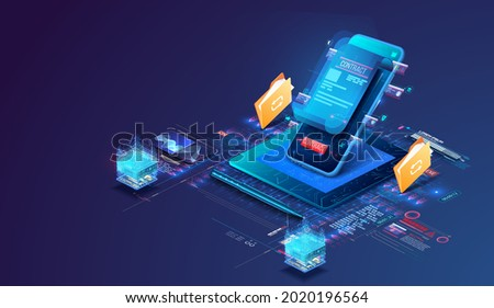 Digital online smart contract for electronic signature of the document agreement on security, finance, legal agreement. Transfer of documentation. Electronic signature and high level of protection. 3d