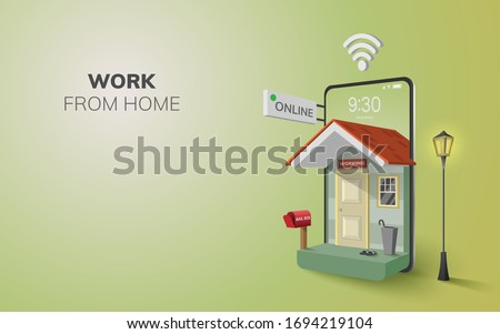 Digital Online Work from home internet Application on phone, mobile website background. social distance concept. decor by home wifi mobile. 3D vector Illustration. flat design pastel - copy space