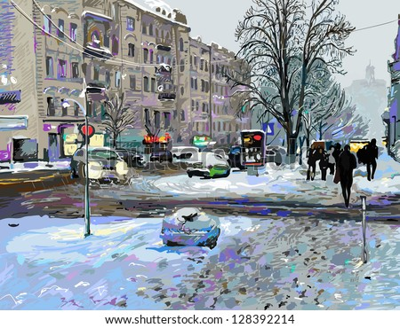 digital painting of winter Kiev city landscape, Ukraine, slush and snow weather, vector version