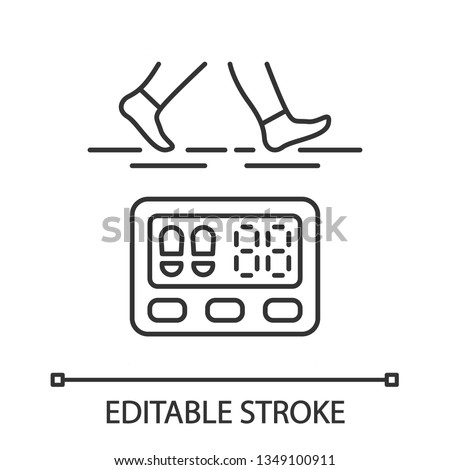 Digital pedometer linear icon. Walking activity indicator. Fitness tracker. Steps counter. Passometer. Thin line illustration. Contour symbol. Vector isolated outline drawing. Editable stroke