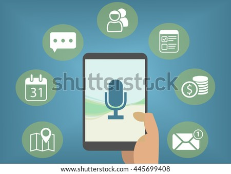 Digital personal assistant concept with speech recognition in order to retrieve emails, instant messages, calendar entries
