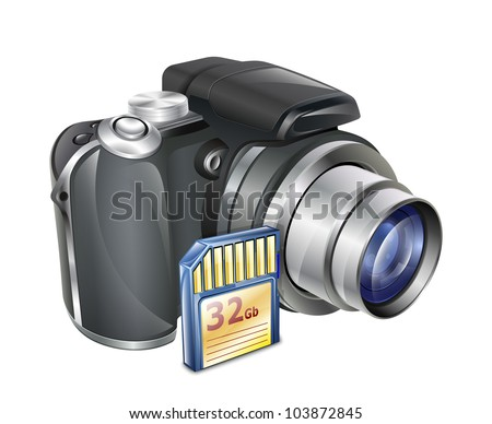 Digital Photo Camera with Memory Card. Vector Illustration - stock vector