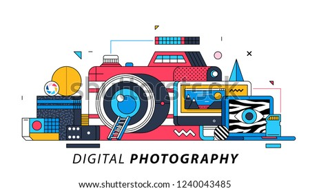 Digital Photography. Illustration in memphis style. Big red camera, computer with photo editing software.