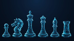 Digital polygonal image of chess pieces. Pawn, knight, king, queen, bishop and rook isolated in black. Abstract vector mesh consisting of blue lines and dots looks like starry sky. Chess game concept