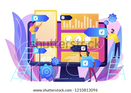 Digital PR agency increase online presence. PR strategy, natural link acquisition and domain authority, brand awareness and keyword rankings concept. Bright vibrant violet vector isolated illustration