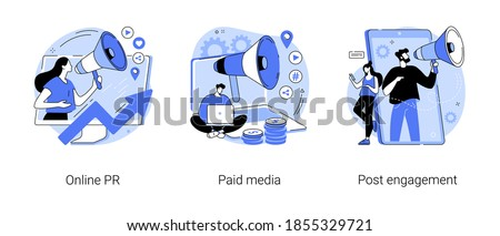 Digital PR service abstract concept vector illustration set. Online PR, paid media, post engagement, copywriting, corporate communication, follower interaction, public relations abstract metaphor.