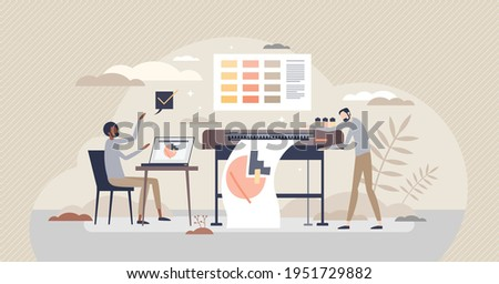 Digital printing method with plotter, and printout paper tiny person concept. Large format prints with desktop publishing and offset hardware vector illustration. Color paper press technology service. Stock photo ©