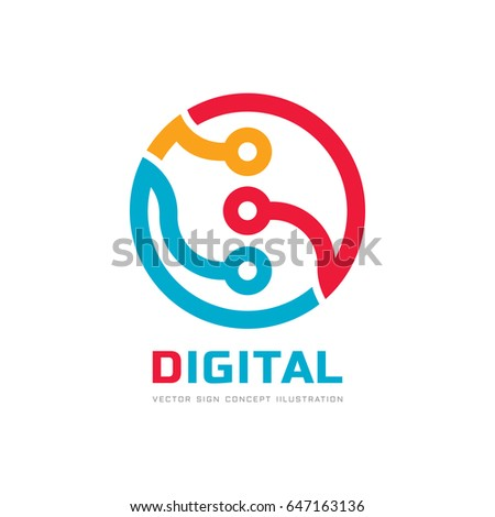 Digital processor CPU - vector logo template for corporate identity. Abstract computer chip sign. Network, internet technology concept illustration. Design element.