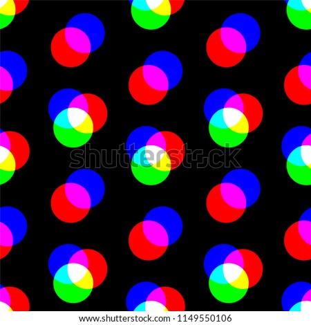 Digital rgb colors pattern/ transparent rgb cmyk geometrical round elements/ seamless print black background