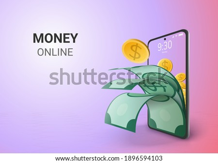 Digital Saving Money Online and blank space on phone, mobile website background saving or deposit in social distance concept