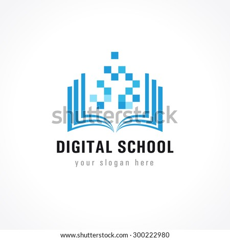 Digital school. On-line educational blue vector logo. Open book with pages and pixels. Virtual i.q. courses identity. E-book, e-library or e-reader soft. Icon of learning or scientific conference.
