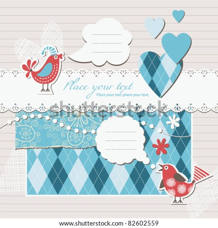 digital scrapbooking - stock vector