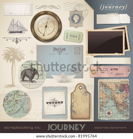 digital scrapbooking kit: Journey - assorted ephemera and paper objects for your travel and vacation layouts (eps10 file) - stock vector