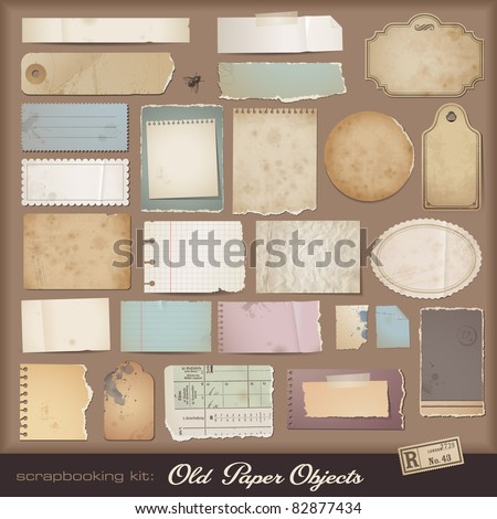 stock-vector-digital-scrapbooking-kit-old-paper-different-aged-paper-objects-for-your-layouts