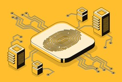 Digital security access with biometrics data isometric vector concept with fingerprint sensor or scanner connected to computers or network servers illustration. Cryptocurrency blockchain technology