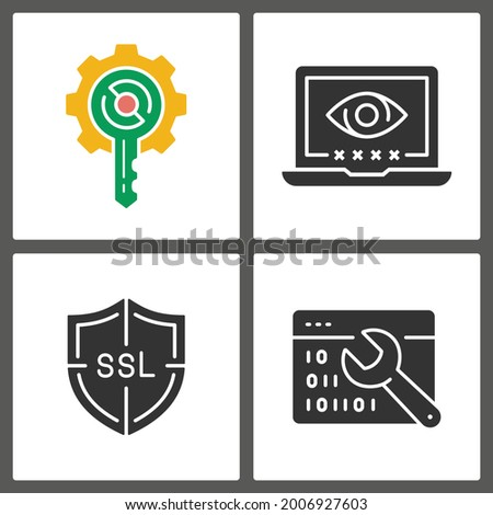 Digital security glyph icons. Vector illustration isolated on white.