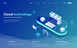 Digital service or app with data transfering. Web cloud technology business. Internet data services. Cloud data storage. Cloud computing technology users network. Online computing technology.