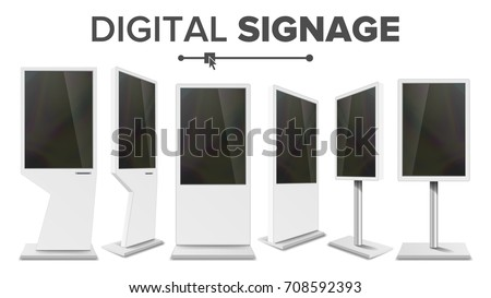 Digital Signage Touch Kiosk Set Vector. Display Monitor. Multimedia Stand. LCD High Defintion Digital Signage. For Restaurants Advertising Projects. Isolated Illustration
