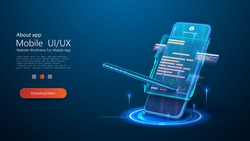 Digital signature concept with phone and pen. Mobile document manager or e-signature business concept vector isometric illustration. Blockchain or Smart Contract landing page design. E-signature. Blue
