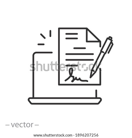 digital signature icon, e document form, electronic device for contract or agreement, thin line symbol on white background - editable stroke vector illustration eps10
