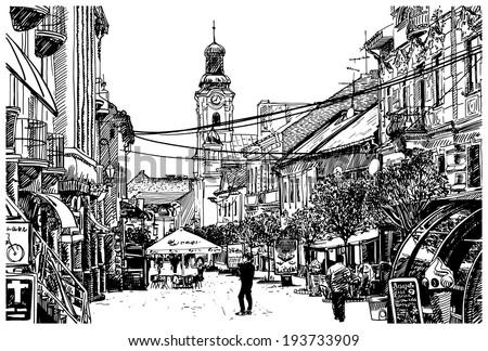 digital sketch vector black and