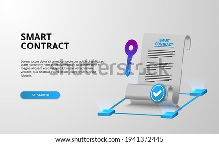 Digital smart contract for electronic sign document agreement security, finance, legal corporate. with paper document and key security protection with white background