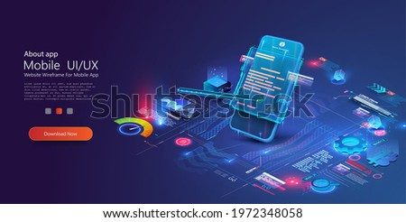 Digital smart contract, isometric icon concept of electronic signature, blockchain technology crypto. Online e-contract document. Can use for web banner. Vector illustration