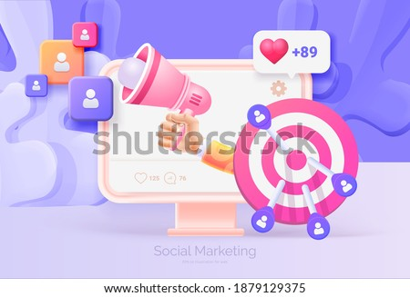 Digital social marketing. Computer with social network interface. Hand holds a megaphone. Search and attraction of target audience, new subscribers. Social network promotion. Vector illustration 3D