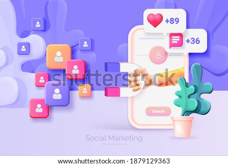 Digital social marketing. Mobile phone with social network interface. Hand holds a magnet. Search and attraction of target audience, new subscribers. Social network promotion. Vector illustration 3D