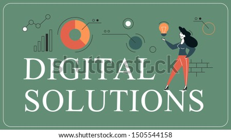 Digital solutions horizontal banner for your website. Header for web page. Responsive app design. Idea of creative solution and modern invention. Vector illustration in flat style