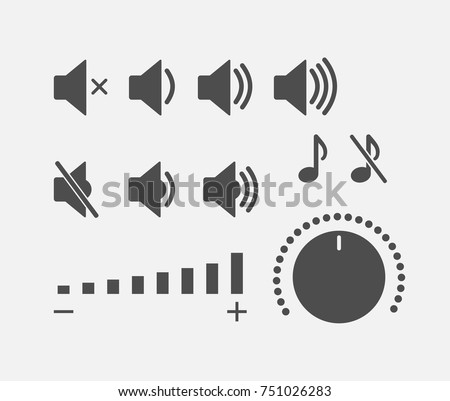 Digital sound controller icons collection. Volume buttons set