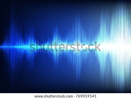 Digital Sound waves on Light Blue background,technology and earthquake wave concept,design for music industry,Vector,Illustration.
