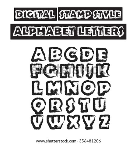 Digital Stamp Style Alphabet. Capital Letters . Graphic Design ...