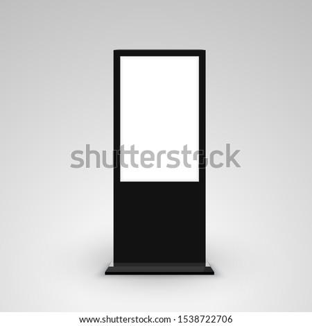 Digital stand signage advertising banner lightbox. Blank isolated mockup billboard marketing panel otdoor design.