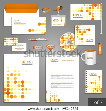 Digital stationery template design with red and yellow round elements Documentation for business